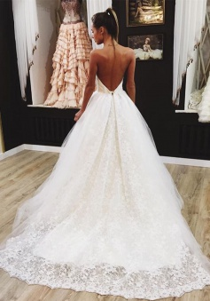 Lovely Backless Wedding Dresses 2018 Lace Tulle Sexy Bride Dress