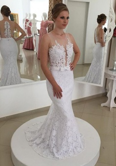 New Arrival Lace Mermaid Bridal Gown Latest Simple Custom Made Wedding Dress BMT135