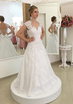 Short Sleeve A-Line Lace Wedding Dress Gorgeous Cheap 2018 Bridal Gown BMT134