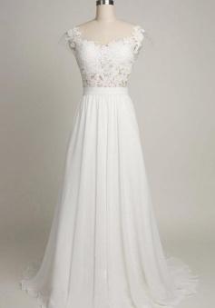 Pure White Cheap Wedding Dress 2018 Lace Chiffon Open Back Bridal Shower Dress BA4218