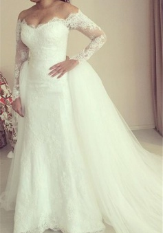 2018 Off-the-shoulder Wedding Dress Long Sleeve Puffy Tulle Train Elegant Bridal Dresses