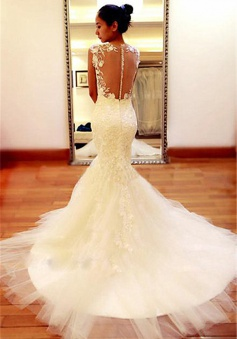 New Arrival Lace 2018 Wedding Dress Sheer Back Sexy Mermaid Bridal Dresses