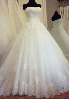 Strapless Lace Ball Gown Wedding Dress 2018 Lace Up Cheap Bridal Gowns