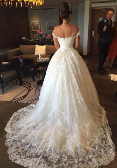 New Arrival Off the Shoulder Ball Gown Wedding Dress Crystal Lace Bridal Gown