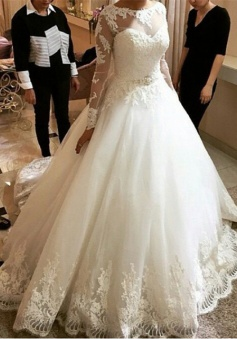 New Arrival Long Sleeve Lace Bridal Gown A-line Scoop Court Train Wedding Dresses