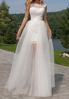 Cute Halter Short Lace Bridal Dresses with Detachable Tulle Open Back Wedding Dress