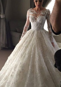 New Arrival Ball Gown Princess Dress Long Sleeve 3D Lace Wedding Dress 2018 BA2810