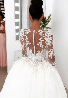 New Arrival Ball Gown Princess Dress Long Sleeve 3D Lace Wedding ...