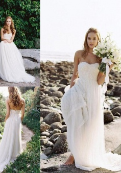 A-Line Sweetheart Lace Summer Beach Wedding Dress Elegant Zipper Long Bridal Gowns