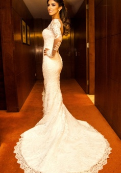 Vintage Long Sleeve Lace Bridal Gown Mermaid Court Train 2018 New Wedding Dress