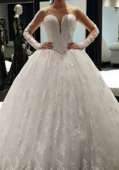 Vintage Long Sleeve Ball Gown Princess Dress Lace Crystal Floor Length 2018 Wedding Dress