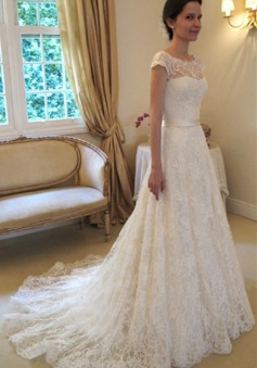 A-Line Short Sleeve Court Train Wedding Dress New Arrival Bowknot Custom Made Bridal Gown