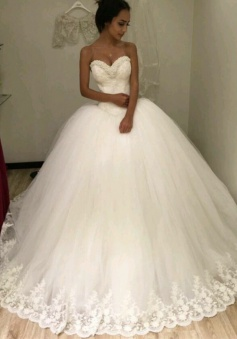 Elegant Sweetheart Ball Gown Princess Dress with Beadings New Arrival Plus Size Wedding Dress