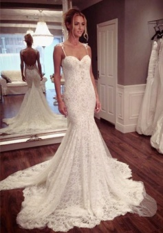 Sexy Lace Spaghetti Strap Mermaid Wedding Dress Latest Court Train Open Back 2018 Bridal Gowns