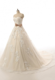 New Arrival Sweetheart Lace Bridal Gowns with Bowknot Champagne Zipper Custom Made Wedding Dress