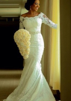 Vintage Long Sleeve Mermaid Lace Wedding Dress Crystal Latest Long Plus Size Bridal Gowns BA0645