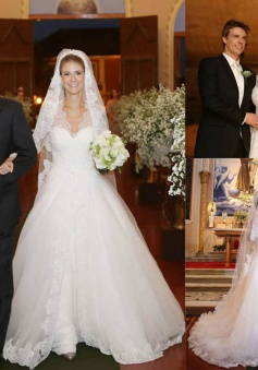 A-Line Elegant Long Sleeve Lace Bridal Gowns V-Neck Sweep Train Plus Size Wedding Dress