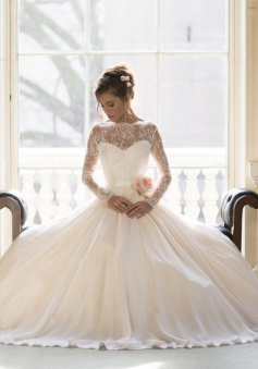 Elegant Lace Ball Gown Princess Wedding Dresses 2018 Long Sleeve Custom Made Bridal Gown