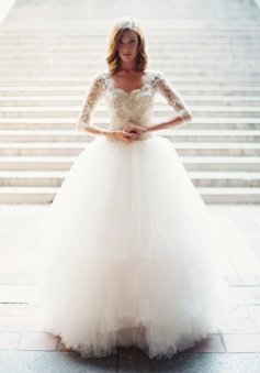 Gorgeous White Tulle Crystal Bridal Gown with Beadings Latest Zipper Floor Length Wedding Dress