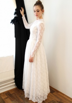 Vintage A-Line Lace Floor Length Wedding Dress Elegant Simple White Long Sleeve Bridal Gowns