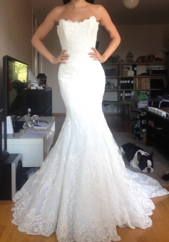 Beautiful White Lace Mermaid Bridal Gown Popular Custom Made Trumpet Plus Size Wedding Dress