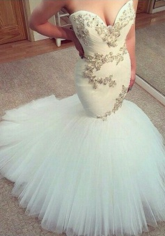 Sexy White Sweetheart Tulle Long Wedding Dress New Arrival Mermaid Custom Made Bridal Gowns