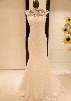 Sexy Mermaid High Collar Lace Wedding Dress New Arrival Custom Made Sequins Long Evening Dress