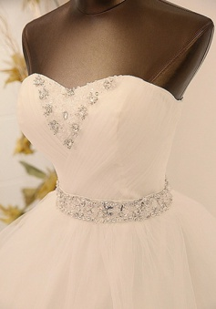 Elegant Swtteherat White Crystal Lace Bridal Gown with Beadings Tulle Floor Length Wedding Dresses BA7297
