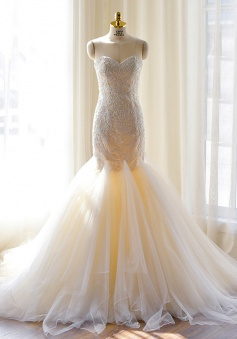 Sexy Mermaid Sweetheart Tulle Long Wedding Dress Court Train Lace-Up Plus Size Bridal Gown