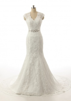 V-Neck Crystal Sexy Mermaid Long Wedding Dress Sweep Train Lace Trumpet Formal Bridal Gown