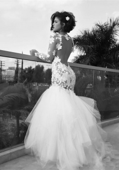 White Sexy Mermaid Tulle Long Bridal Gown Long Sleeve Backless Floor Length Wedding Dress
