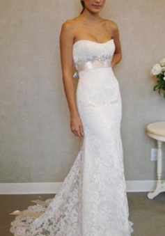 Empire Sexy White Lace Long Wedding Dress Popular Crystal Bowknot Sweep Train Bridal Gowns