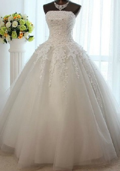 White Strapless Crystal Long Wedding Dress New Arrival Lace Floor Length Ball Gown Bridal Gown