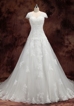 Beautiful Short Sleeve White Lace Bridal Gowns Popular Tulle Court Train Wedding Dress