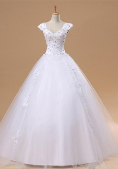 Elegant White Lace Puffy Wedding Dress New Arrival Floor Length Ball Gown Bridal Gowns