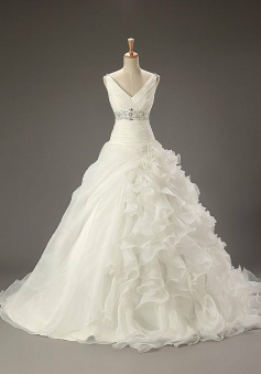V-Neck Empire Organza Bridal Gowns with Beadings Latest Sweep Train Crystal Wedding Dress