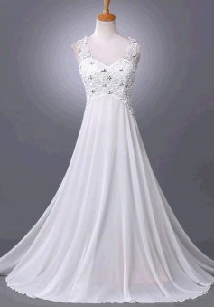 A-Line White Chiffon Long Wedding Dress Lace Sequines Court Train Plus Size Bridal Gowns