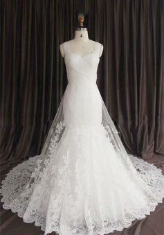 Sexy Lace Spaghetti Strap Mermaid Wedding Dress New Arrival Court Train Plus Size Bridal Gown