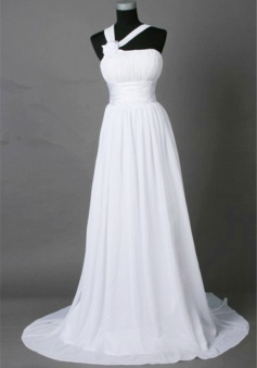 One Shoulder White Chiffon Long Bridal Gown Cheap Empire Flower Lace-Up Wedding Dress