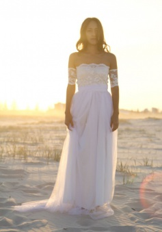 Bateau Short Sleeve White Chiffon Wedding Dress Latest Simple Lace Summer Beach Bridal Gowns
