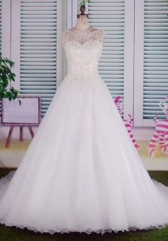 Elegant White Beading Long Bridal Gowns Bateau Court Train Tulle Ball Gown Wedding Dress