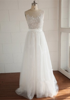 A-line Elegant White Lace Long Wedding Dress Simple Popular Plus Size Bridal Gowns