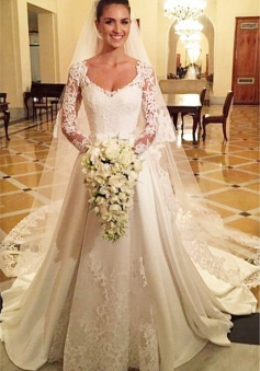 Princess A Line Satin Wedding Dress White Lace V Neck Long Sleeve Cheap Bridal Gowns
