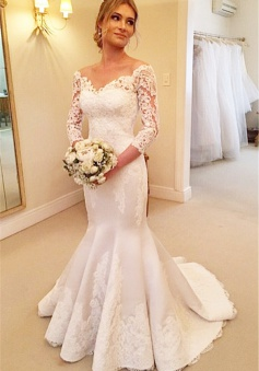 Sexy Mermaid V-Neck 3/4 Long Sleeve Wedding Dress White Lace Plus Size Bridal Gowns