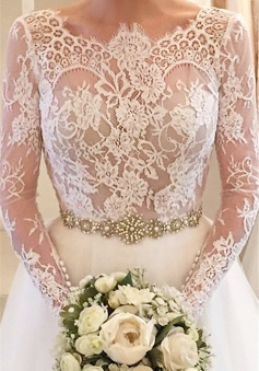 Formal White Lace Long Sleeve Bridal Gown Elegant Crystal Court Train Wedding Dress