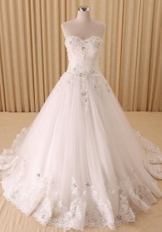 Elegant White Sweetheart Lace Bridal Gowns Crystal Lace-Up Court Train Wedding Dresses