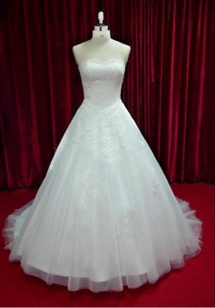 White Strapless Lace Long Wedding Dress Latest Tulle Sweep Train Plus Size Bridal Gowns