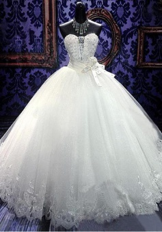 Crystal White Sweetheart Ball Gown Bridal Dress Sparkly Lace Floor Length Wedding Dresses for Women CJ0354