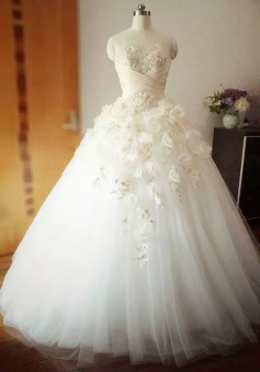 Beautiful Flowers Crystal Long Wedding Dress Sweetheart Ruffles Tulle Ball Gown Bridal Gowns