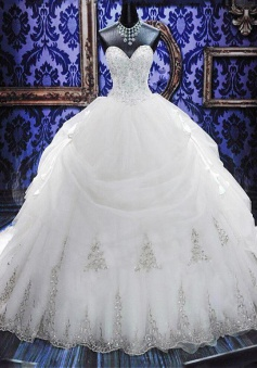 Elegant White Sweetheart Crystal Ball Gown Wedding Dress Court Train Bowknot Bridal Gowns with Beadings